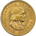 Costa Rica Republic gold 20 Colones 1897, AU55 NGC, Philadelphia. The first year of this popular type with the portrait of Columbus.