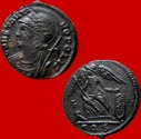 Ancient Coins - Attractive Constantinopolis AE follis. Aquileia. F/ AQS. Very rare