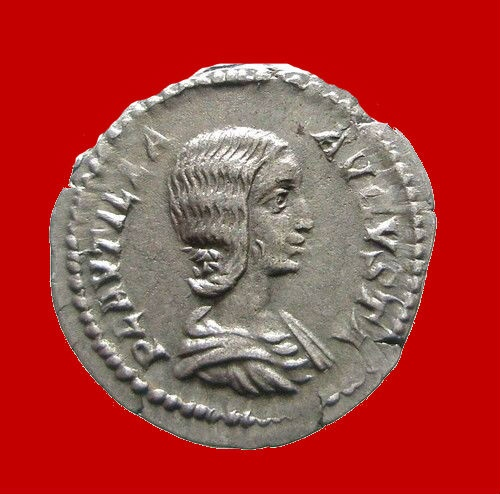 Ancient Coins - Lovely Plautilla silver denarius. Minted in Rome between A.D. 202-205.
