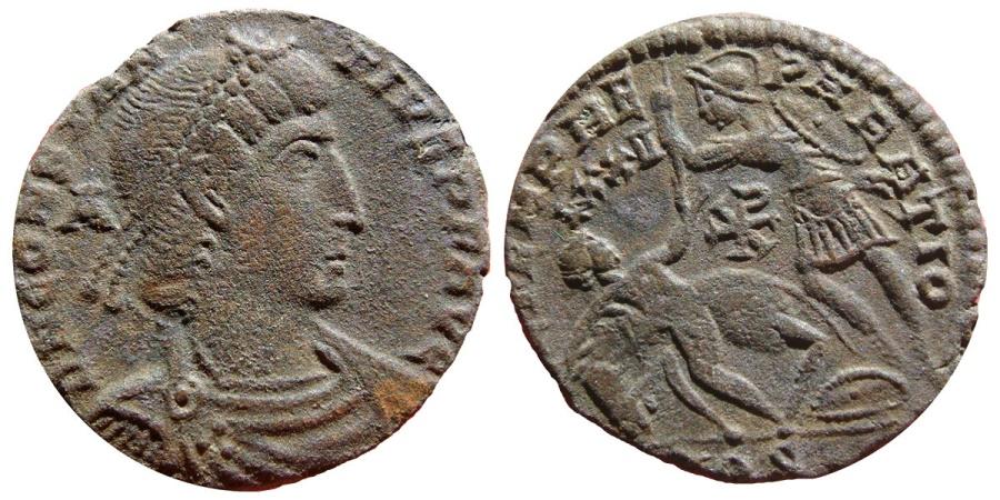 Ancient Coins - Constantius II AE20. Aquileia LXXII Chi-rho. AQS. FEL TEMP REPARATIO. Very very rare!!