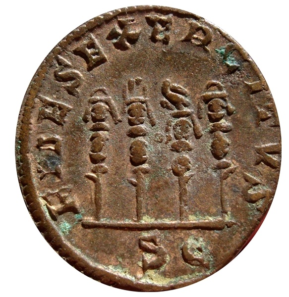 Ancient Coins - Roman Empire - Philip I (244 - 249 A.D.) bronze sestertius (18,65 g., 30 mm). Rome mint. FIDES EXERCITVS. Three standards and a legionary eagle.