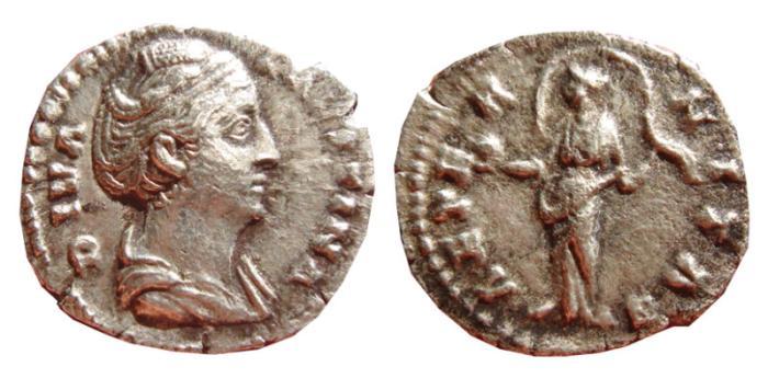 Ancient Coins - DIVA FAVSTINA AR denarius. Rome, 147-161 AD.AETERNITAS.
