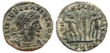 Ancient Coins - Delmatius AE half follis. Cyzicus. 336-337 A.D. GLORIA EXERCITVS. SMKA. Very scarce.