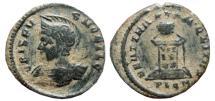 Ancient Coins - Crispus helmeted AE follis. Londinum. Struck 321 AD. BEATA TRANQVILLITAS. PLON. Scarce.