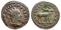 Ancient Coins - Philip I AR antoninianus, 248 AD. SAECVLARES AVGG, V. Stag.