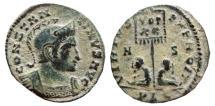 Ancient Coins - Constantine I helmeted AE follis. Lugdunum. Captives. VIRTVS - EXERCIT / VOT / XX / A /S / PLG.