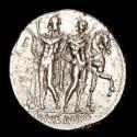 Ancient Coins - Roman Republic - L. Memmius. Silver denarius. Minted in Rome, 109-108 BC. L•MEMMI. The Dioscuri standing before their horses.