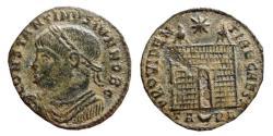 Ancient Coins - Constantine II AE follis. Arles, 325-326. Campgate. PROVIDEN-TIAE CAESS, TA crescent RL.