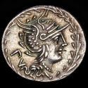 Ancient Coins - M. Lucilius Rufus Ar denarius, Rome mint 105 B.C. - RVF / M LVCILI Victory in biga