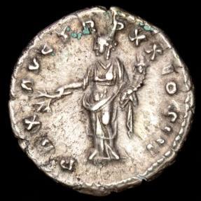 Ancient Coins - Marcus Aurelius AR Denarius. Rome, AD 165-166. - ARMENIACVS / PAX AVG TR P XX COS III, Pax.