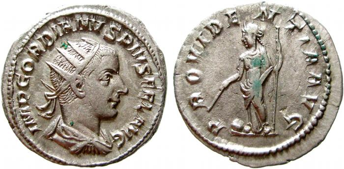 Ancient Coins - Gordian III AR antoninianus. 243-244 AD. PROVIDENTIA AVG. VF+