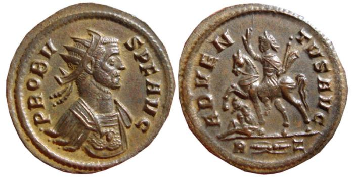 Ancient Coins - Probus billon antoninianus. Rome, 279 AD. ADVENTVS AVG. R thunderbolt Z. EF