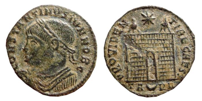 Ancient Coins - Constantine II AE follis. Arles, 325-326. Campgate. PROVIDEN-TIAE CAESS, TA crescent RL.