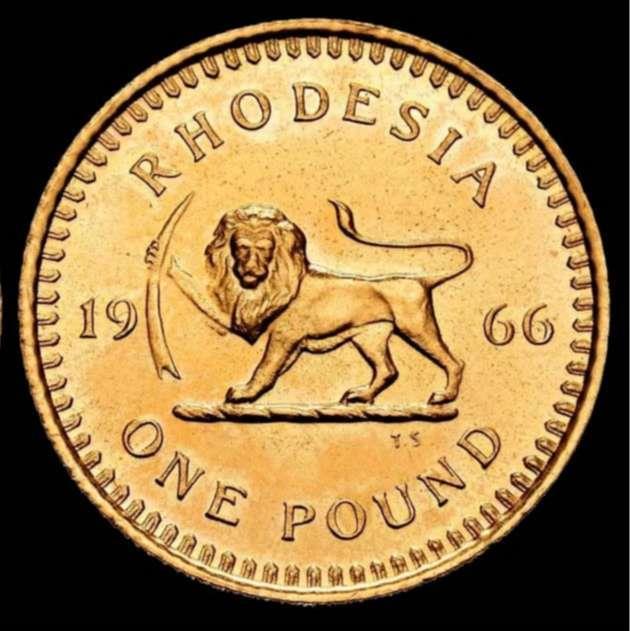 World Coins - British Colony of Rhodesia (Zimbabwe) - 1 Pound - 1966 - Elizabeth II / Leon. - Gold