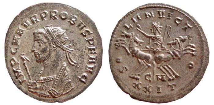 Ancient Coins - Probus silvered antoninianus. Cyzicus. 276-282 AD. SOLI INVICTO, CM XXIT. EF.