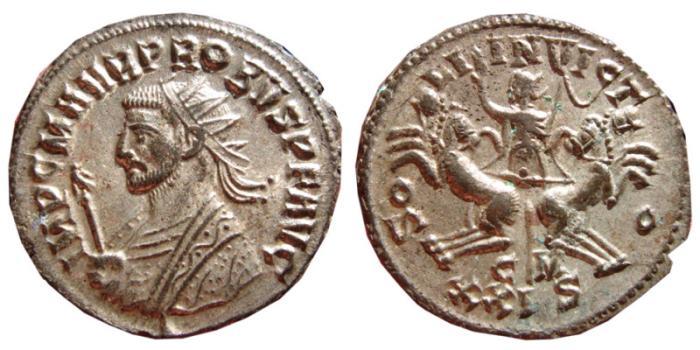 Ancient Coins - Probus silvered antoninianus. Cyzicus, 276-282 AD. SOLI INVICTO, CM XXIS. EF.