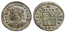Ancient Coins - Constantinus II AE follis, Arles mint. Struck 327 AD.  VIRTVS CAESS. S-F//ARLT.