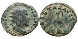 Ancient Coins - SALONINUS. (AD 258-260) AR antoninianus. PIETAS AVGG. Sacrificial Implements. Scarce