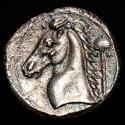Ancient Coins - SICILY. Entella Punic issues, circa 300-289 BC. Tetradrachm. Herakles-Melqart / Head of a horse and Palm.