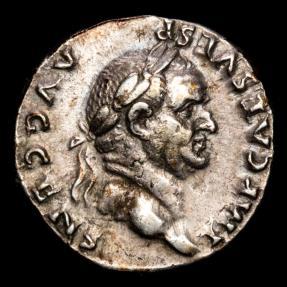 Ancient Coins - Vespasianus (69-79 AD) Ar denarius, Rome. - PONTIF MAXIM, Vespasian seated right, holding sceptre and branch.
