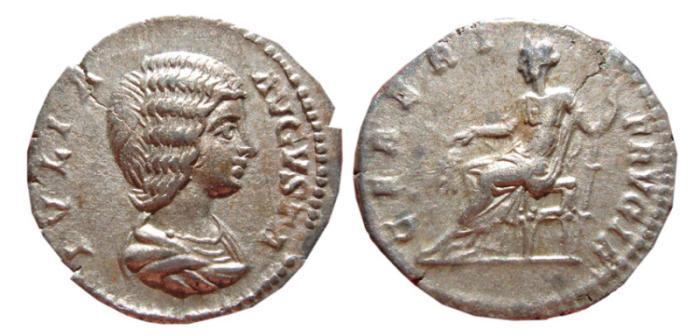 Ancient Coins - Julia Domna AR denarius. Rome, 196-211 AD.  CERERI FRVGIF. Scarce.
