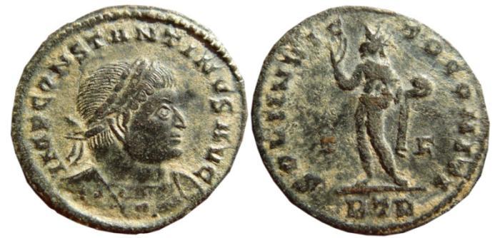 Ancient Coins - Constantine I Æ Follis. Trier mint.  316 AD. SOLI INVICTO COMITI. T-F//BTR.