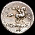 Ancient Coins - L. Philippus. AR denarius. Rome. 113-112 B.C. - Equestrian statue right on tablet, flower.