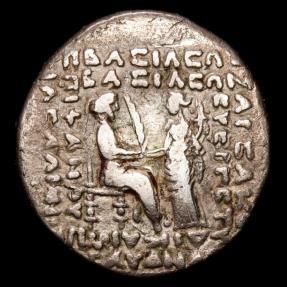Ancient Coins - Parthian Kingdom. Phraates IV. AR tetradrachm. Seleukeia on the Tigris. - Athena presenting diadem to king.