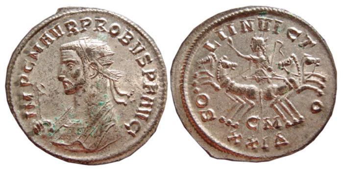 Ancient Coins - Probus silvered antoninianus. Cyzicus. 276-282 AD. SOLI INVICTO, CM XXIΔ. EF