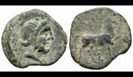 Ancient Coins - Sacili bronze as (LIGHT SERIES). 80-20 B.C., Pedro Abad. Horse