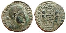 Ancient Coins - Top Barbarous Magnentius AE20. Trier. Victories. TRS.