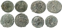 Roman Empire - Four roman bronze coins lot of Constans (3) and Constantius II from Arles mint.
