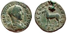 Ancient Coins - Philip II (AD 247-249). AE sestertius. SAECVLARES AVGG. Elk. Scarce!!