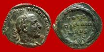 Ancient Coins - Roman Empire - Trebonianus Gallus (251-253 A.D.) bronze sestertius (17,31 g. 28 mm.), Rome mint. VOTIS/DECENNA/LIBVS S-C