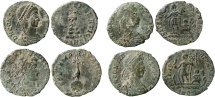 Roman Empire - Four roman bronze coins lot of Constans (3) and Constantius II from Arles mint. FEL TEMP REPARATIO.