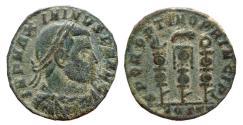 Ancient Coins - Maximinus II follis. Ostia. MOSTT. Legionary eagle & standards. Scarce.