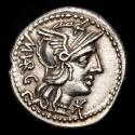 Ancient Coins - Roman Empire. - M. Vargunteius. Silver denarius (3,94 g., 21 mm). Rome, 130 BC. Jupiter in quadriga