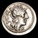 Ancient Coins - Roman Empire. - M. Vargunteius. Silver denarius (3,90 g., 21 mm). Rome, 130 BC. Jupiter in quadriga