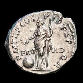 Ancient Coins - Trajan (98-117 AD) - Silver denarius,  Rome 116 A.D. - P M TR P COS VI P P S P Q R / PRO - VID. Providentia.