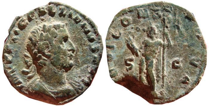Ancient Coins - Gallienus AE sestertius, Rome, AD 254-255. IOVI CONSERVA S-C. Jupiter. Scarce.