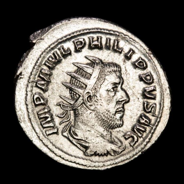 Ancient Coins - Philip I Arab AD 244-249. Rome Antoninianus AR. - ROMAE AETERNAE, Roma seated left on shield, holding Victory and sceptre.