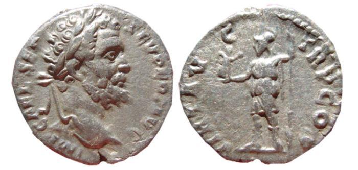 Ancient Coins - Septimius Severus AR denarius. rome, 193 AD. VIRT AVG TR P COS.