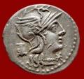 Ancient Coins - Roman Republic - M. Marcius M. f. silver denarius (3,60 grs. 19 mm.), Rome mint, 134 B.C. Victory in biga, M. MARC.