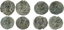 Roman Empire - Four roman bronze coins lot of Constans (2)  and Constantius II (2) from Arles mint.