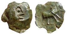 Ancient Coins - SPAIN, extremely rought AE semis Castulo (Linares, Jaen). 180 B.C. CASTELE. Bull.
