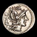 Ancient Coins - C. Terentius Lucanus, moneyer. AR Denarius, Rome, 147 BC. C TER LVC / ROMA Dioscuri galloping right.