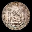 Ancient Coins - Spain - Carlos III (1759-1788) 8 Silver Reales, minted in 1762 - Lima mint. Assayer JM. Crowned Pillars.