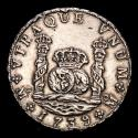 Ancient Coins - Spain - Felipe V (1700-1746), 8 silver reales minted in Mexico in 1739. Essayer MF. Crowned Pillars.
