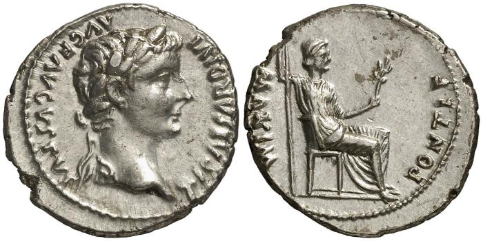 "Ancient Coins - Tiberius AR denarius. PONTIF.MAXIM. Lugdunum mint, 14-37 A.D. ""Tribute Penny"". EF."