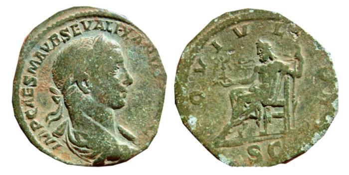 Ancient Coins - Severus Alexander AE sestertius. 222-231 AD. IOVI VLTORI. Scarce.
